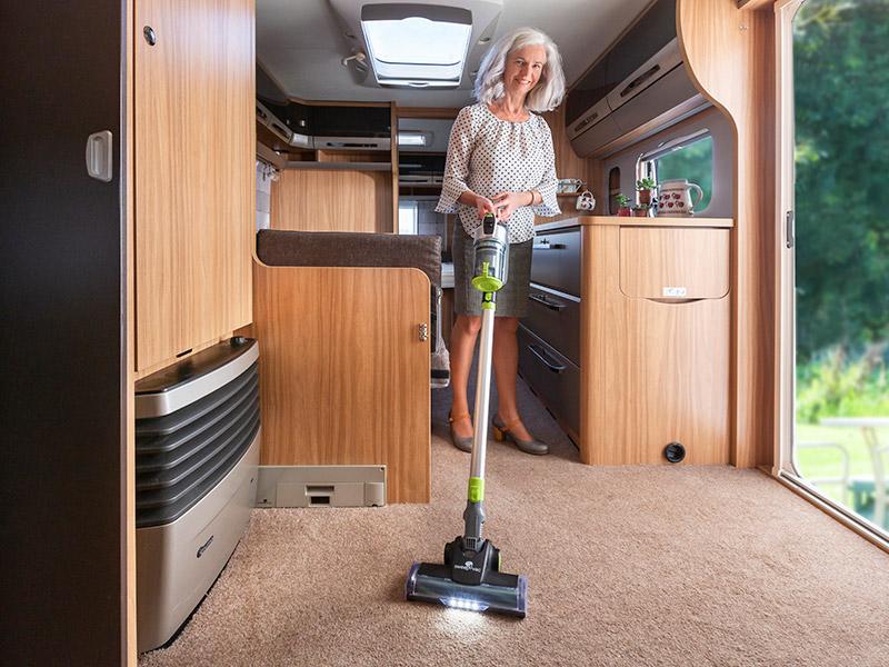 Stickvac in a caravan